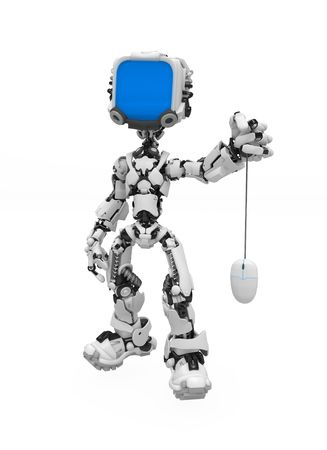 mechanical mouse: Small 3d robotic figure, over white, isolated Stock Photo