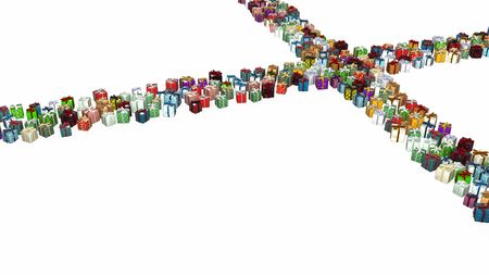 intersect: Gift 3d, many small wrapped  boxes, isolated, over white