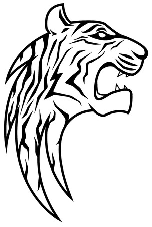 Rising stylized tiger head vector, vertical, isolated