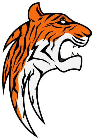 tiger head: Rising stylized tiger head vector, vertical, isolated