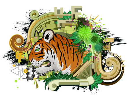 Tiger head abstract vector design, color illustration, horizontal