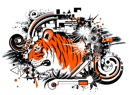 year of the tiger: Tiger head abstract vector design, color illustration, horizontal