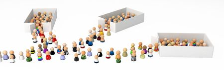 exiting: Crowd of small symbolic 3d figures, isolated Stock Photo
