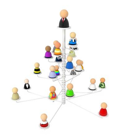 hi�rarchie: Menigte van kleine symbolische 3d figuren, geïsoleerd