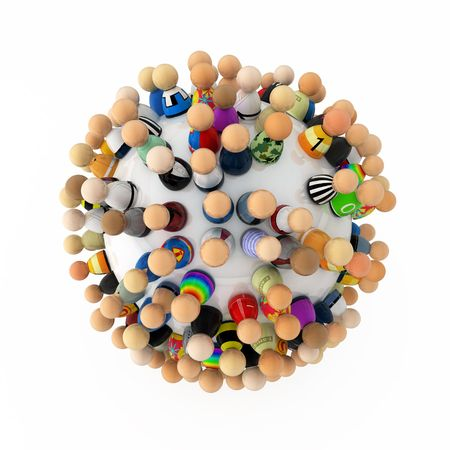Crowd of small symbolic 3d figures, isolated Stock Photo - 6115045