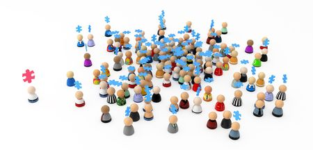 Crowd of small symbolic 3d figures, isolated Stock Photo - 6115090