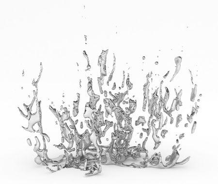 liquid metal: Astratto schizzi 3d di metallo liquido, over white, isolato