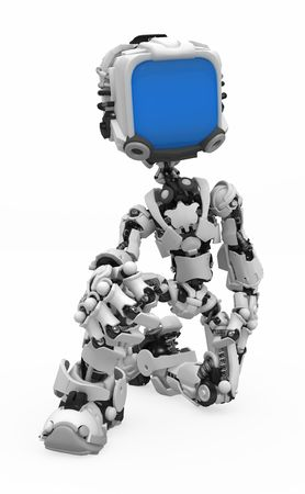 Small 3d robotic figure on one knee, over white, isolated Stock Photo - 6135152