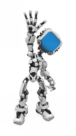 Small 3d robotic figure waving, over white, isolated