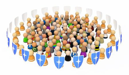 Crowd of small 3d figures symbolizing protection or security, isolated photo