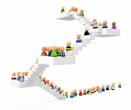 Crowd of small symbolic 3d figures ascending a staircase, isolated