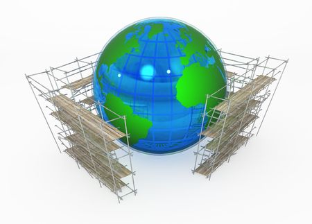 Earth globe 3d, surrounded by scaffolding, over white, isolated