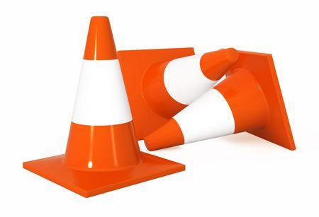 delimit: Bright orange 3d traffic cones, over white