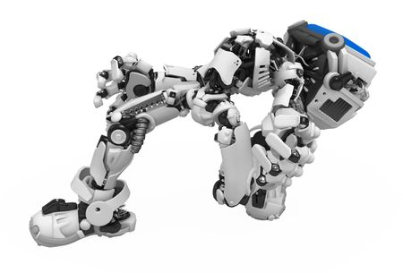 Small 3d robotic figure, over white, isolated Stock Photo - 6160719