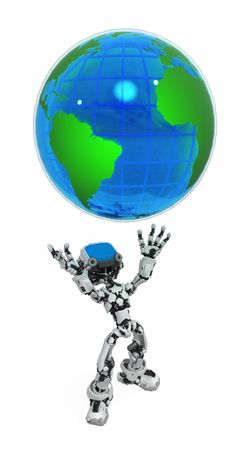 Small 3d robotic figure, over white, isolated Stock Photo - 6160700