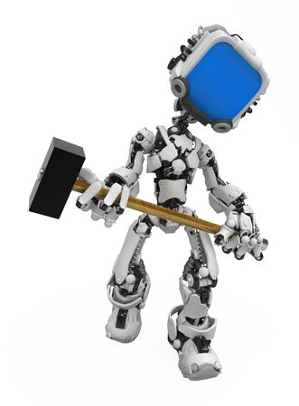 Small 3d robotic figure with a mallet, over white, isolated photo