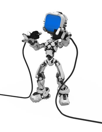mains: Small 3d robotic figure, over white, isolated Stock Photo
