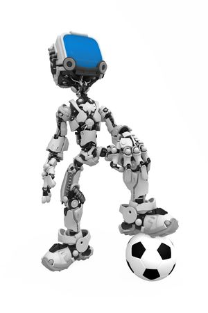 Small 3d robotic figurewith a soccer ball, over white, isolated Stock Photo - 6160712