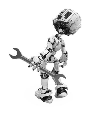 Small 3d robotic figure with a spanner, over white, isolated Stock Photo - 6160702
