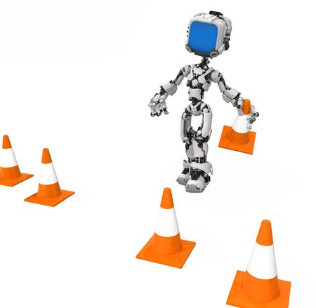 delimit: Small 3d robotic figure, over white, isolated Stock Photo