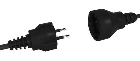 mains: Black 3d electric wire plug and socket, isolated Stock Photo