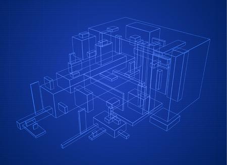 Abstract vector box build structure blueprint design Vector