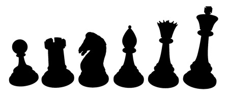 piece: Set of vector chess piece silhouettes, isolated