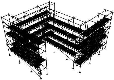 Horizontal construction scaffolding structure vector silhouette, isolated