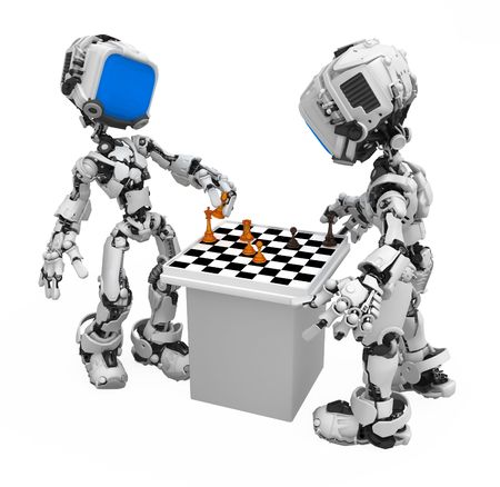 Small 3d robotic figures playing chess, over white, isolated