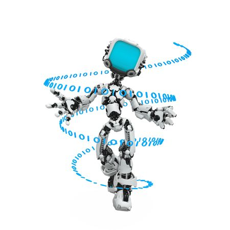 Small 3d robotic figure, over white, isolated Stock Photo