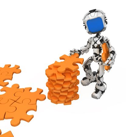 taking video: Small 3d robotic figure gathering jigsaw pieces, over white, isolated