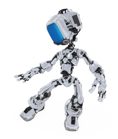 Small 3d robotic figure, over white, isolated Stock Photo - 6196499