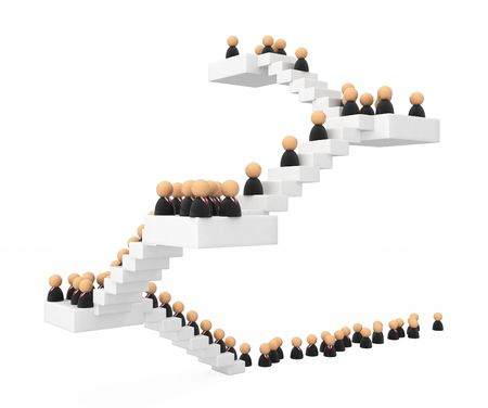 Crowd of small symbolic 3d figures ascending a staircase, isolated photo
