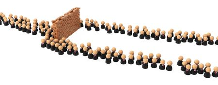 masses: Crowd of small symbolic 3d figures flowing around an obstacle, isolated