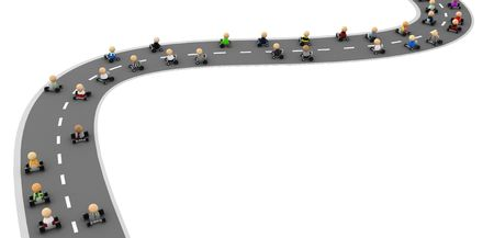 participant: Crowd of small symbolic 3d figures, isolated Stock Photo