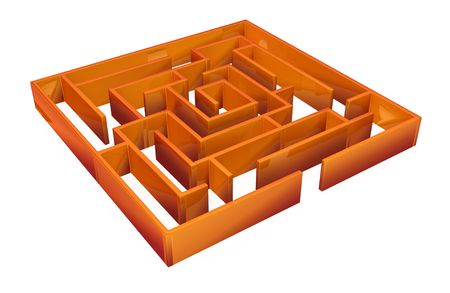 lost in thought: Square 3d labyrinth model, over white, isolated Stock Photo