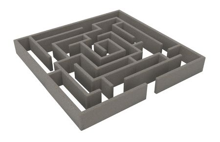 bewildering: Square 3d labyrinth model, over white, isolated Stock Photo
