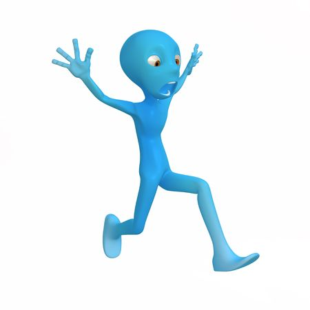 fleeing: Blue 3d character model figure, over white, isolated