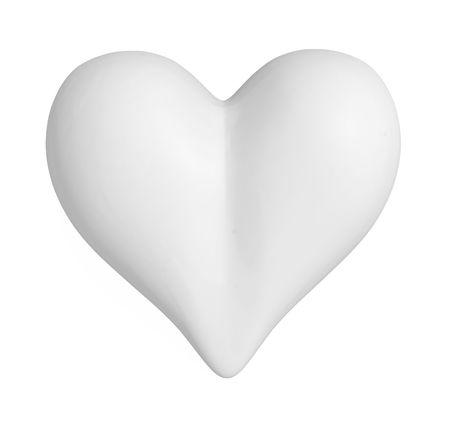 White 3d Valentine heart symbol, horizontal, isolated photo