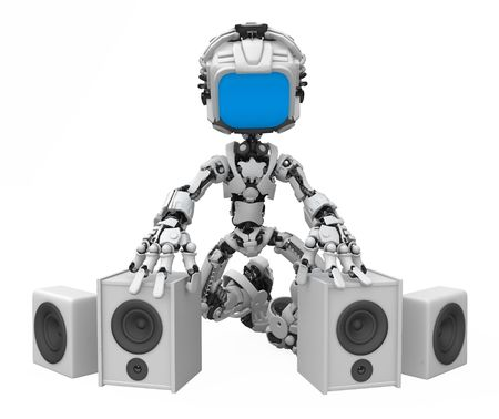 Small 3d robotic figure, over white, isolated 写真素材