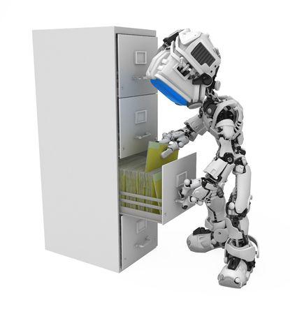 Kleine 3D-geautomatiseerde media figuur, via Wit, geïsoleerd