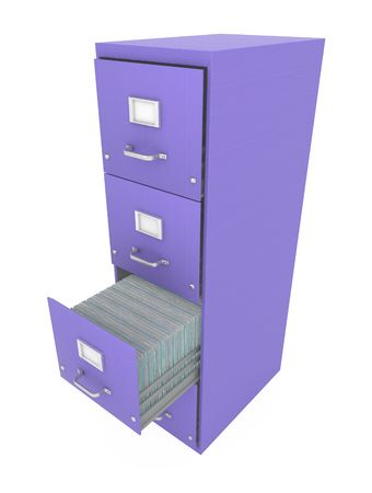Purple 3d filing cabinet with drawer open, isolated photo
