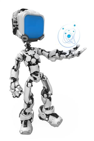 robotic: Small 3d robotic figure, over white, isolated Stock Photo