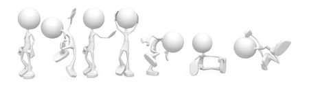 sphere standing: Small 3d character figures, over white, isolated