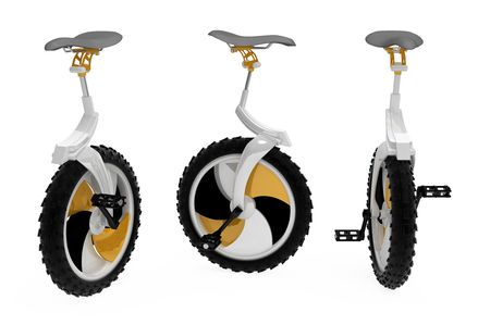 Modern 3d unicycle model, over white, isolated photo