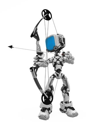 Small 3d robotic figure, over white, isolated photo