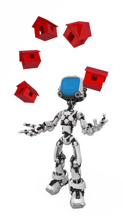Small 3d robotic figure, over white, isolated Stock Photo - 6484467