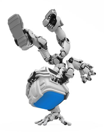 mano robotica: Peque�a figura rob�tica 3d, sobre blanco, aislado  Foto de archivo