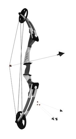 Compound bow 3d model, over white, isolated photo
