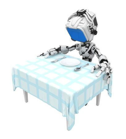 Small 3d robotic figure, over white, isolated Stock Photo - 6532579